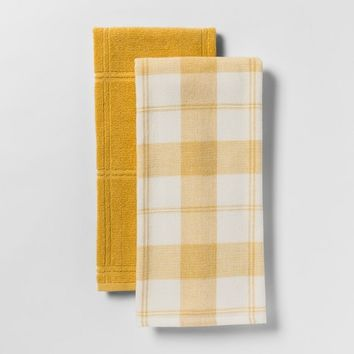 Check With Solid Kitchen Towel 2pk - Threshold™