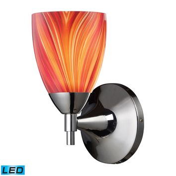 Celina 1-Light Wall Lamp in Polished Chrome with Multi-colored Glass - Includes LED Bulb