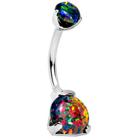Double Black Synthetic Opal Internally Threaded Belly Ring 3/8 | Body Candy Body Jewelry