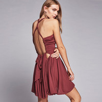 """Free People"" Fashion Solid Color Deep V Hollow Ruffle Sleeveless Backless Mini Dress"