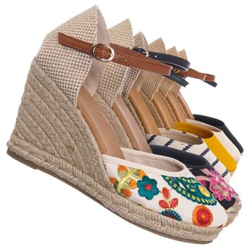 Timeoff01 Espadrille High Heel Wedge - Women Summer Bohemian Jute Wrap Braid