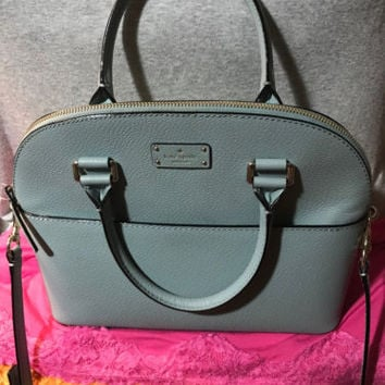 Handbag Kate Spade Blue Leather Shoulder Bag Zip Dome Hobo X Body Satchel