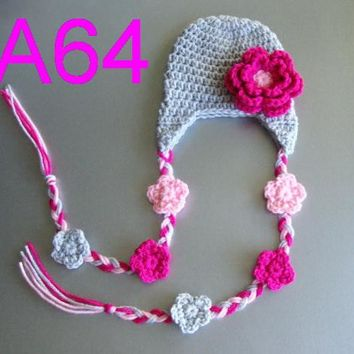 free shipping,10piece/lot Fashion Cute Baby Girl Crochet Hat Beanie Ear Warm New,100% handmade Girl Crochet flowers Hat caps