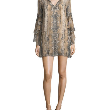 Haute Hippie Rock and Roll Split-Neck Snake-Print Silk Mini Dress