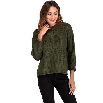 Women Christmas Pullover 2018 Autumn Knitted Sweaters Loose Knit Sweaters O-neck Long Sleeve tunics Knitwear top female jumpers