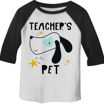 Boy's Cute Teacher's Pet Shirt Adorable Dog Raglan 3/4 Sleeve Graphic Tee Boy's Girls Back To School Shirts