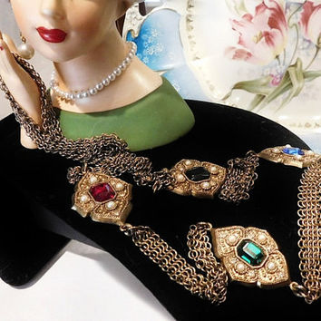Vintage Whiting Davis Necklace Whiting and Davis Mid Century Designer Signed Necklace 1960s Rhinestones Faux Pearls Medallions Opera Length