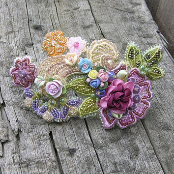 Beaded Flower Barrette Clip with Porcelain and Polymer Clay Flowers on Hand Dyed Lace