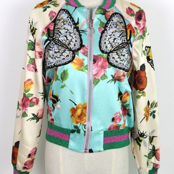 Bena Embroidered Silky Bomber