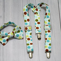 Suspender and Bow Tie Set with green, blue brown Dots. baby boy. Ring bearer, Photo prop cake smash, wedding, church, everyday wear.