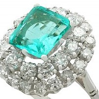 2.42 ct Emerald and 1.62 ct Diamond, 18 ct White Gold Cluster Ring - Vintage Circa 1950
