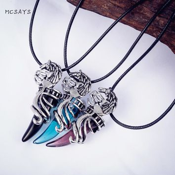 MCSAYS Norse Viking Jewelry Dragon Wolf Teeth Pendant Link Chain Silver Color Leading Spirits Necklace Fashion Accessories 3AL