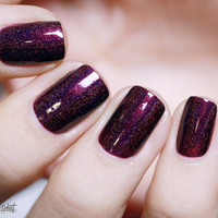 Black Orchid - Deep Burgundy / Plum Vampy Holographic Nail Polish