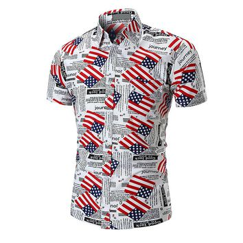 American Flag Men's Short Sleeves Button Down Shirt Slim Fit