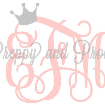 Monogrammed Decal Sticker With Crown, Laptop Monogram, Vinyl Monogram, Car Monogram, Personalized, Water Bottle Decal, Cooler Monogram