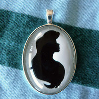 Ariel the Little Mermaid Silhouette Disney Cameo Pendant Necklace