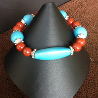 Turquoise and red jasper stretch cord bracelet