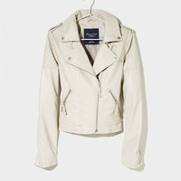 AEO Women's Vegan Leather Moto Jacket (Grey)