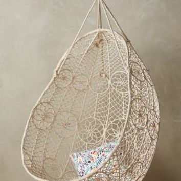 Knotted Melati Hanging Chair by Anthropologie in White Size: One Size Furniture