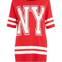 New Look Mobile | Red NY Oversize Baseball T-Shirt