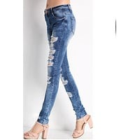 Begger Styles Pencil Plus Size Hole Slim Long Denim Pants