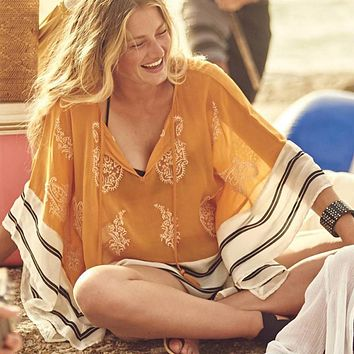 Sexy Chiffon Swimsuit cover up Beachwear Loose V-neck Bathing suit Cover ups 2018 Summer Bikini cover up Beach Tunic Pareo