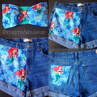 ANY SIZE The Little Mermaid High Waisted Shorts - Mayrafabuleux Original Design