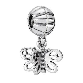 Authentic 925 Sterling Silver Bead Charm Cute Friends Forever Butterfly Pendant Bead F