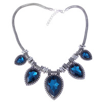 Yan & Lei Hot Sale Acrylic Faceted Teardrop Bead Chunky Black Chain Bib Statement Collar Necklace