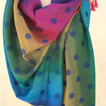 Pashmina Scar wrap shawl, polka dot polkadot wraps shawls, popular items, rainbow scarf, unique scarves, Christmas gifts stocking, PiYOYO