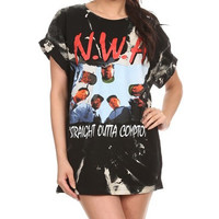 """N.W.A"" Vintage Bleached T Shirt"