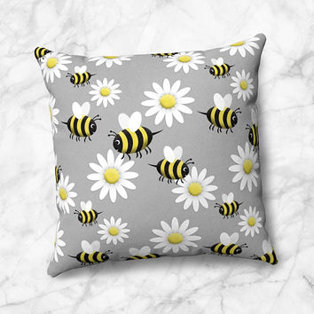 Happy Bee Daisy Throw Pillow - Cute Yellow White Black Gray pattern - Size Options - Cover Only or Full Pillow - Made to Order
