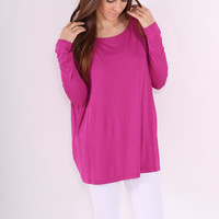 Long Sleeve Piko Top -  Orchid