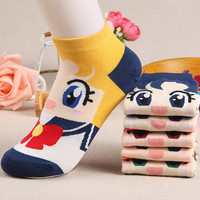 2016 Spring Autumn Breathable Cotton Ship Socks Women Cute Cartoon Sailor Moon Month Rabbits Water Ice On Female Girls Socks