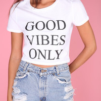 Good Vibes Only White Graphic Crop Top