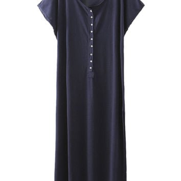 Navy Short Sleeve Button Placket Side Split Maxi T-shirt Dress