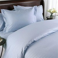 Lt. Blue Damask Stripe Down Alternative 4-PC Comforter Set 100% Combed cotton 600 Thread count