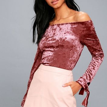 Happy-Go-Lovely Rusty Rose Velvet Off-the-Shoulder Top