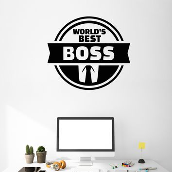 Vinyl Wall Decal World's Best Boss Gift Office Worker Art Decor Stickers Mural Unique Gift (ig5237)