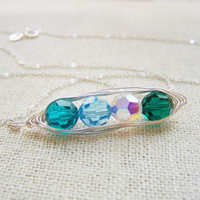 Pea Pod Necklace - Birthstone Necklace - Mother Necklace - Wire Wrapped Peapod Necklace - Grandmother Necklace - Pea Pod Jewelry