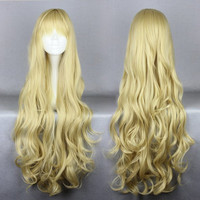 80cm Long Golden Cosplay Anime angel sanctuary-Rosielsynthetic heat resistant fiber Long Blonde Wig,Colorful Candy Colored synthetic Hair Extension Hair piece 1pcs CodeGeass-Nunnally Vi Britannia WIG-207H