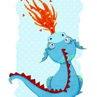 Children's Art Print - Blue Dragon Print - Kids Room or Nursery Decor