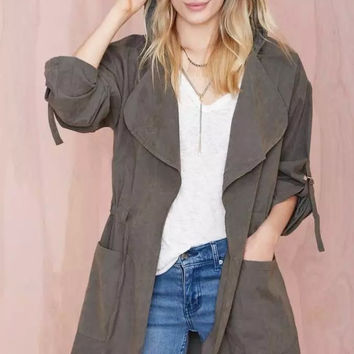 Drawstring Waist Lapel Long-Sleeve Pocket Hooded Coat