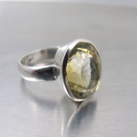 Vintage Modernist Sterling Citrine Ring, Large Oval Artisan Studio Sterling Silver Checkerboard Faceted Citrine Statement Ring, Size 8.5