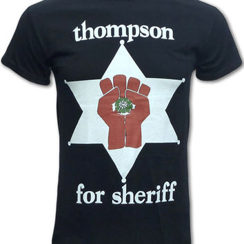 Hunter S Thompson For Sheriff T Shirt (Fear and Loathing, Rum Diary, Gonzo) Retro Graphic Tees For Men, Women & Children