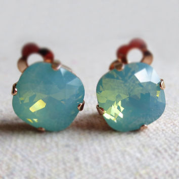 Swarovski Crystal Statement Clip-On Post Earrings, Dark Mint Opal Cushion Square, Rose Gold, Bridal Jewelry, Bridesmaids Gifts, Non Pierced