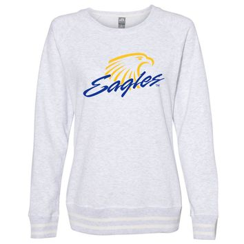 Official NCAA Embry Riddle Daytona Eagles PPERAUD03 Women's Crewneck Sweatshirt with White Striped Edges