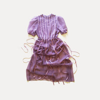Vintage Sheer Maxi Dress Shirt Dress 80s Bridesmaid Dress with Ribbon Skirt