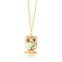 Large Gold and Vintage Floral Owl Pendant Necklace