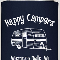 Happy Campers coozies, custom coozies, camping coozies, party coozies, summer camping, summer fun cozy coozies, campers, picnic favors party